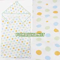 Детское байковое (фланелевое) уголок-полотенце после купания новорожденного 95х95 см 100% хлопок 2968 Зеленый