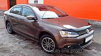 Дефлектор капота (мухобойка) Volkswagen JETTA 2011- темный (Фольксваген Джетта) SIM