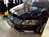 Дефлектор капота (мухобойка) Volkswagen PASSAT В7 SD WG 11- темный (Фольксваген Пассат) SIM