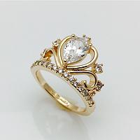 Кольцо корона с большим камнем, размер 17, 18, 19, 20