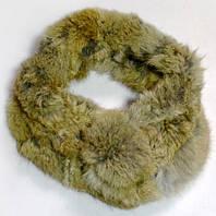 Уютный шарф-горжетка из натурального меха G101_беж
