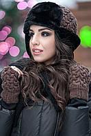 Комплект шапка + мінетки № 181 шоколад