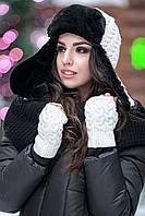 Комплект шапка + мітенки № 181 білий
