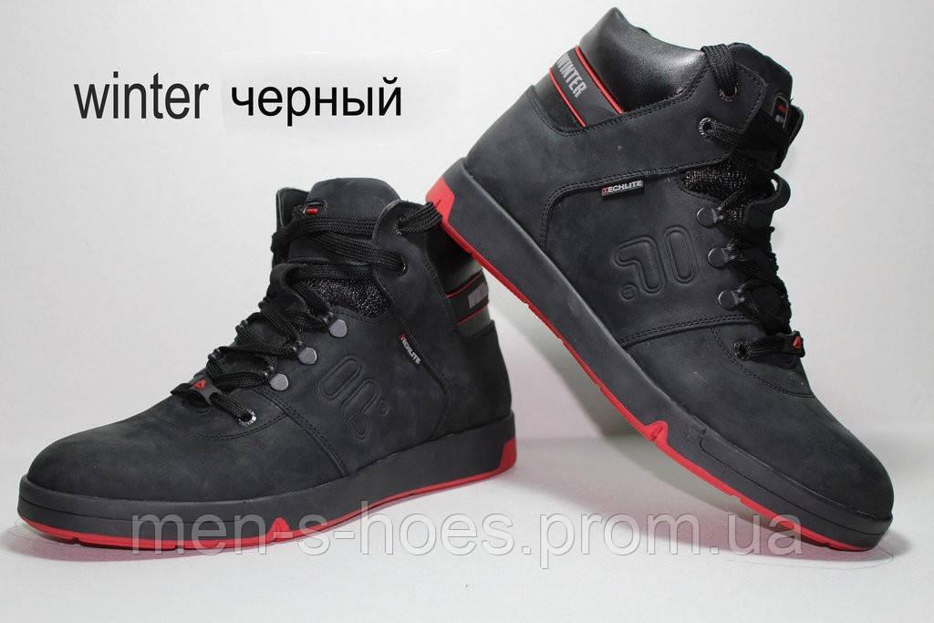 Зимние мужские кожаные  кроссовки спортивные ботинки Follamen Winter Black
