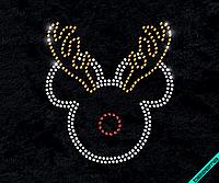Наклейка из страз на ткань Микки-олень (Стекло 3мм-бел., 3мм-зол.,3 мм-красн.)
