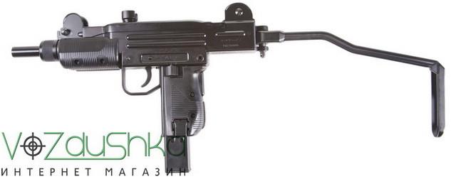 пневматический пистолет узи kwc kmb07 с откинутым прикладом