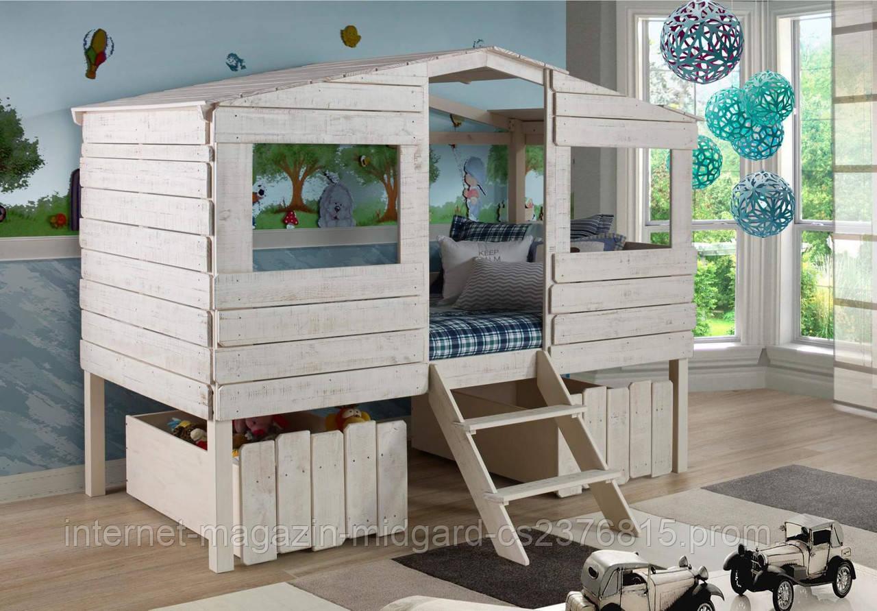"""Детская кровать """"Коттедж"""" массив дерева"""