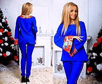 """Элегантный женский нарядный брючный костюм 224 """"Креп Запах Кант Цветы"""" в расцветках"""