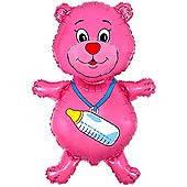 Шар фольга Мишка розовый с соской Мини Шар