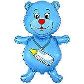 Шар фольга Мишка голубой с соской Мини Шар