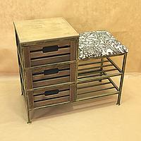 Скамья мягкая для прихожей на 2 полки и 3 ящика, 005/DP10/1461