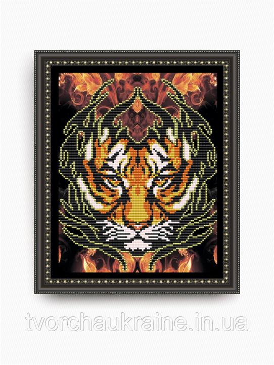 Авторская канва для вышивки бисером «Огненный тигр»