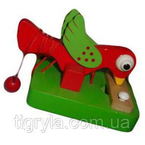 Птичка и зернышки, деревянная игрушка дятлик, деревянный дятел