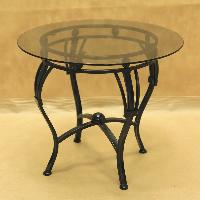 Стол кованый с круглой стеклянной столешницей малый 005/ST10S/1559