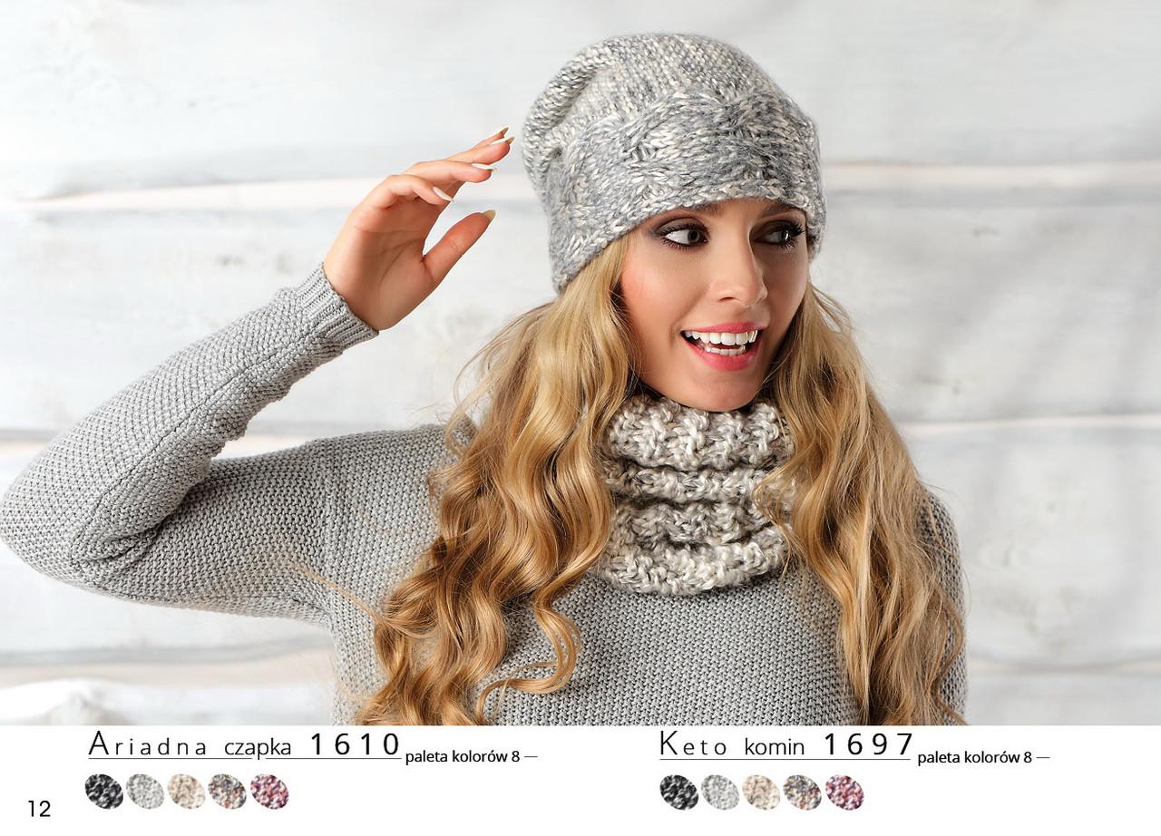 Красивая теплая вязаная женская шапка на флисе оригинальной вязки Ariadna.