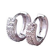 Серьги двусторонние круглые серебро с цирконием в коробке