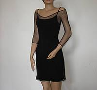 DM-5528 Черное нарядное платье в сетку с подкладкой