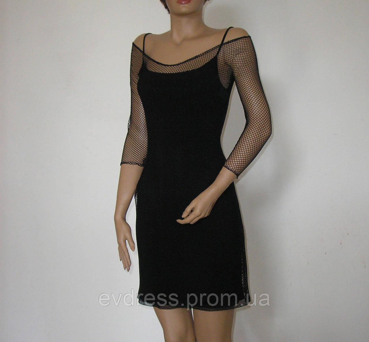 4f443c7d80a Вечернее миди платье в сетку с рукавами на эластичной подкладке из каталога маленькое  черное платье DM-5528