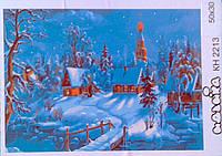 """Раскраски по номерам На холсте """"Деревенская зима"""" КН2213 Идейка Китай"""