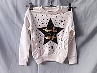 Батник оптом для девочек 2-8 лет, березка с принтом звезда и стразами, карманы, разный цвет, фото 1