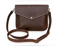 Компактна жіноча сумочка з натуральної шкіри Flapbag mini brown