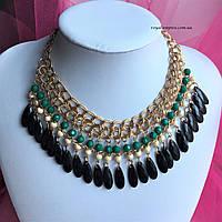 """Ожерелье """"Богемия"""" сплав металлов, под золото цвет с бирюзовыми и черными вставками."""