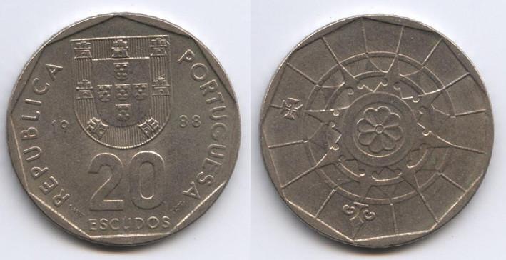 Монеты 20 эскудо Португалия 1988г.