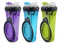 Двойная бутылка для жидкости со складной миской для собак Dexas(фиолетовая)