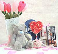 Подарок сердце с мишкой Тедди+Букет Арт.45