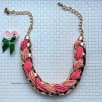 """Ожерелье """" Коса"""" цепочка из бисера, розовое."""