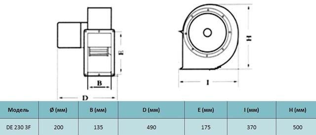 Размеры  трехфазного центробежного вентилятора Tornado de 230 3F. Купить в Украине.