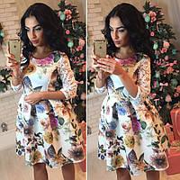 Платье с гипюровым рукавом