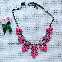 """Яркое ожерелья """"Колор"""" с кристаллами, розовое."""