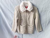 Кофта для девочки оптом, теплая с карманами и мехом на воротнике, на 3-5 лет