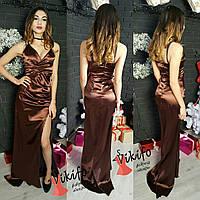Платье длинное в пол на тонких бретелях с разрезом стрейч-тафта разные цвета SMf1001