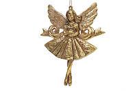 Елочное украшение Ангел, цвет - античное золото 13 см