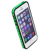 Чехол бампер для iPhone 5S Senior Case со стразами черно-зеленый