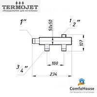 Коллектор для поквартирной разводки Termojet СК-201.100 (2+1, без теплоизоляции)