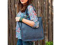 Вместительный кожаный шоппер из натуральной кожи Marins Shopper blue