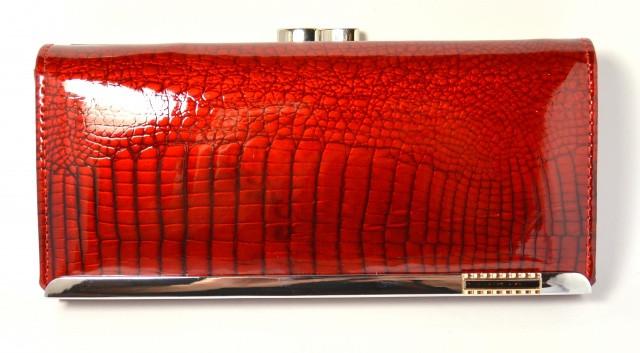 Красивый женский кошелек из натуральной 100% лакированной кожи в красном цвете от Balisa (C826-026)