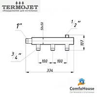 Коллектор для поквартирной разводки Termojet СК-301.100 (3+1, без теплоизоляции)