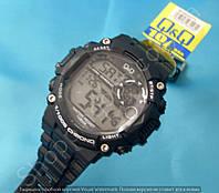 Спортивные часы Q&Q M146J001Y мужские кварцевые черные для плаванья водонепроницаемые WR 100 с подсветкой