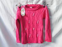 Свитер детский оптом для девочек 5-10 лет, ажурная вязка с бусинами, разные расцветки, фото 1