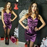 Платье на тонких бретелях мини стрейч-тафта разные цвета SMf1002