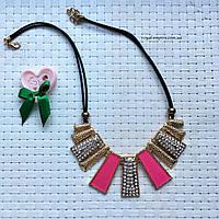 """Ожерелье """"Керри"""", кристаллы и сплав металлов, розовый."""