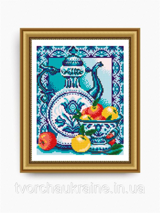 Авторская канва для вышивки бисером «Гжель. Яблоки»