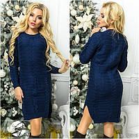 Теплое женское платье темно-синего цвета с длинным рукавом. Модель 12518.