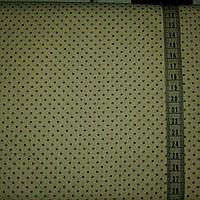 Ткань с мелкой коричневой точечкой (горошком) 1,5 мм на молочном фоне
