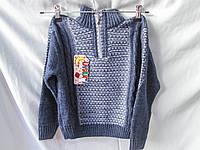 Свитер детский оптом для мальчиков, 4-9 лет, с высоким воротом на молнии, синий