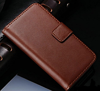 Кожаный чехол-книжка для iPhone 5 5S коричневый